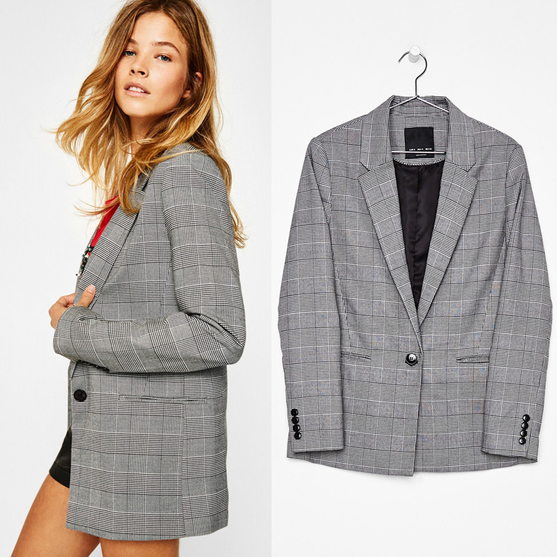 2019 Vintage single breasted Plaid Women Blazer Pockets Jackets Female Retro Suits Coat Office Lady Feminino blazers Outerwear(Hong Kong,China)