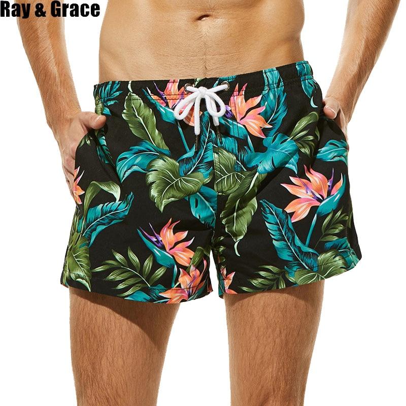 RAY GRACE Summer Men's Board Shorts Beach Brand Quick Dry Shorts Surfing Beachwear Bermudas Breathable Print Men Boardshorts