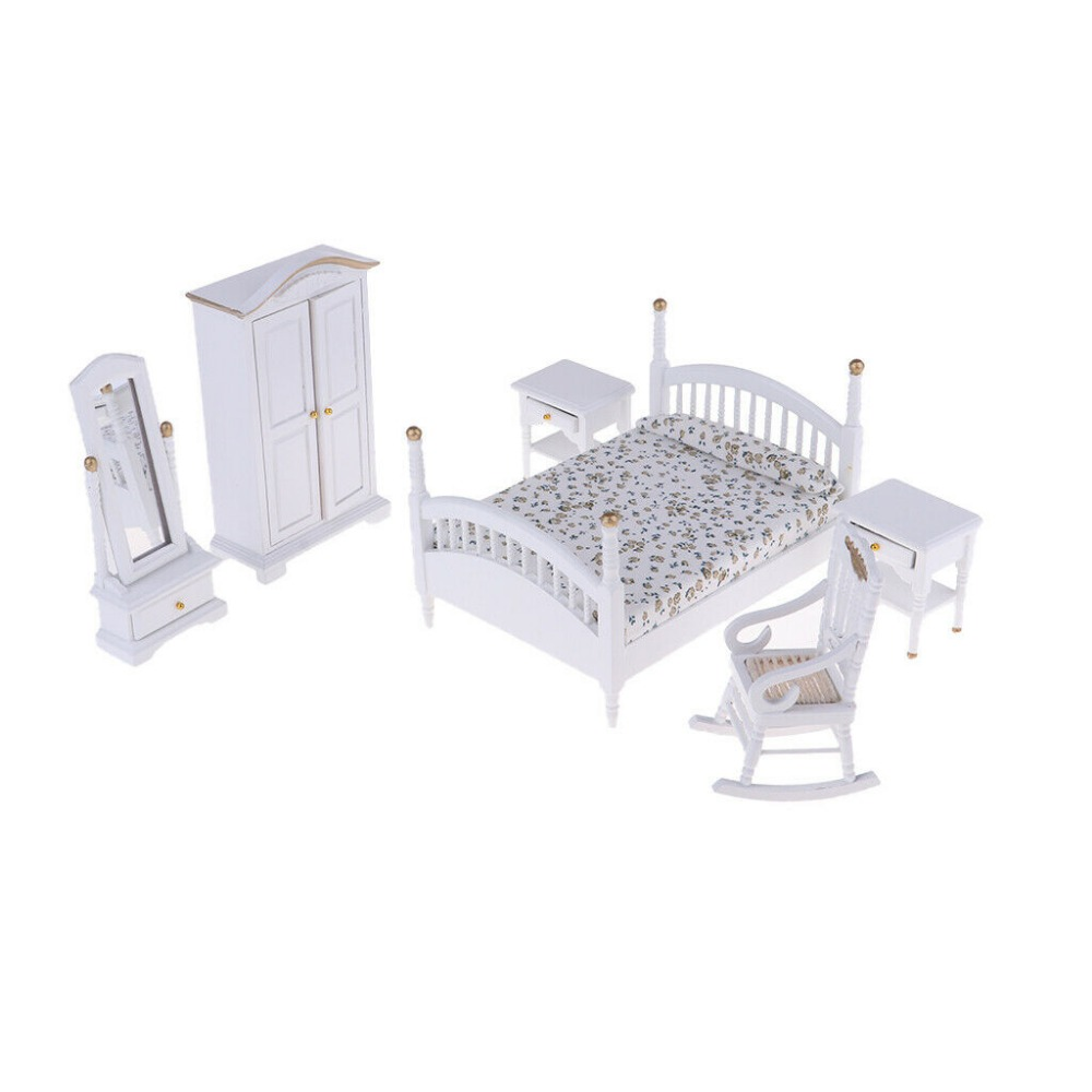 1:12 Dollhouse Miniature Furniture White Fashion Bedroom Set 6PCS <font><b>Bed</b></font> Chair Cabinet Dresser Mirror WB059 image