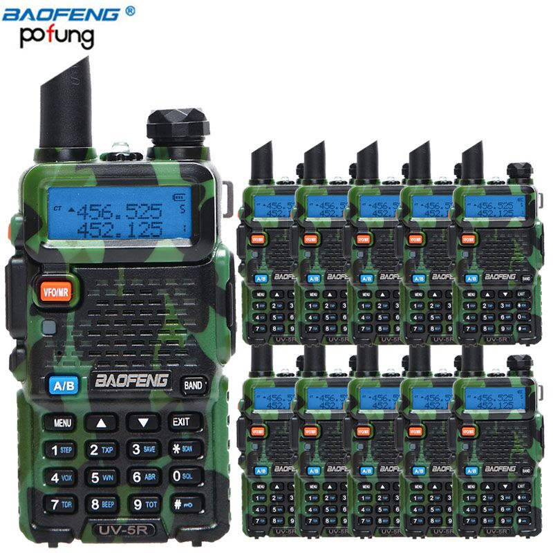 10 pcs/lot Baofeng UV-5R Amateur Radio Portable Talkie Walkie UV5R 5 w vhf/uhf CB Ham Radio 128CH UV 5R Dual Band Two Way Radio