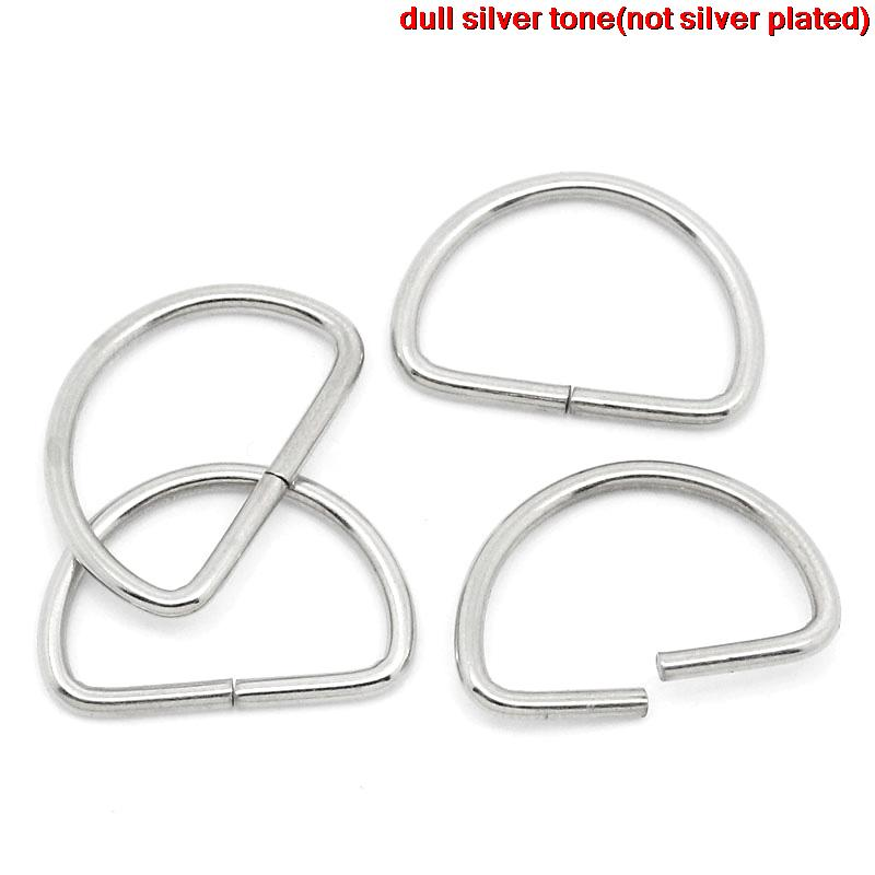 8SEASONS D Rings Findings Fit Clothing Bag Making D Shape Silver Tone Color 13mm x 9mm( 4/8x 3/8),300PCs (B27325)