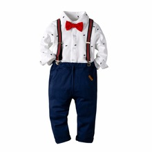 2019 New Spring Children clothing gentleman kids clothes shirt+pants and tie party baby boys new 3pcs/set