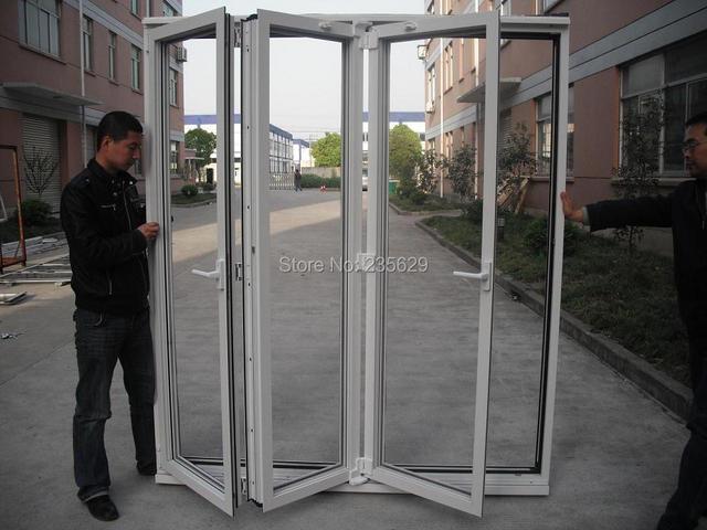 Puerta plegable de aluminio para la venta, doble acristalamiento ...