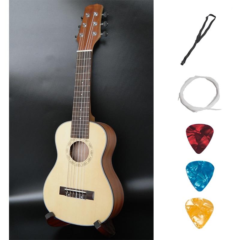 Acoustic Guitalele Ukulele 28 Inch Hawaiian Mini Guitar 6 Strings Ukelele Guitarra Engelmann Picea Asperata Shaliber Uke 26 ukulele tenor all solid wood hawaiian 4 strings guitar mahogany body guitarra ukelele 26 high quality uku string instrument