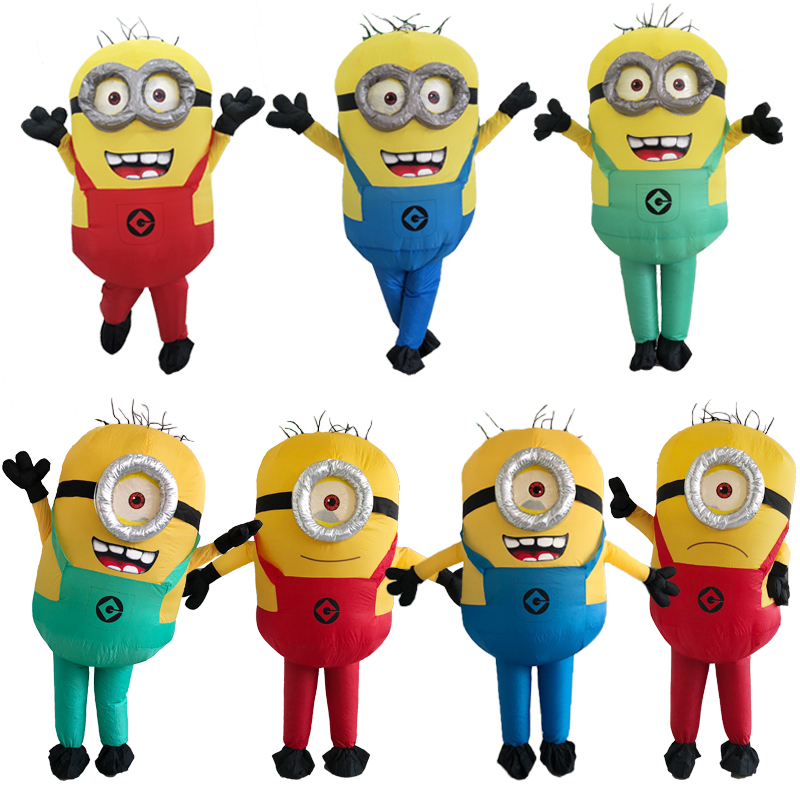 Halloween Minion Inflatable Costumes Adult Party Cosplay Minion Mascot Costume Blue Green Red Minion Inflatable Child Costume