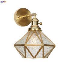 IWHD Nordic Copper LED Wall Lamp Glass Diamond Retro Light Switch Vintage Bedside Lights Simple Fixtures For Home Lighting