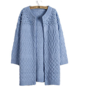 Loose Sweater Cardigan Women's Clothing Long-Sleeved Twist-Bead Vestidos Fashion MMY17148
