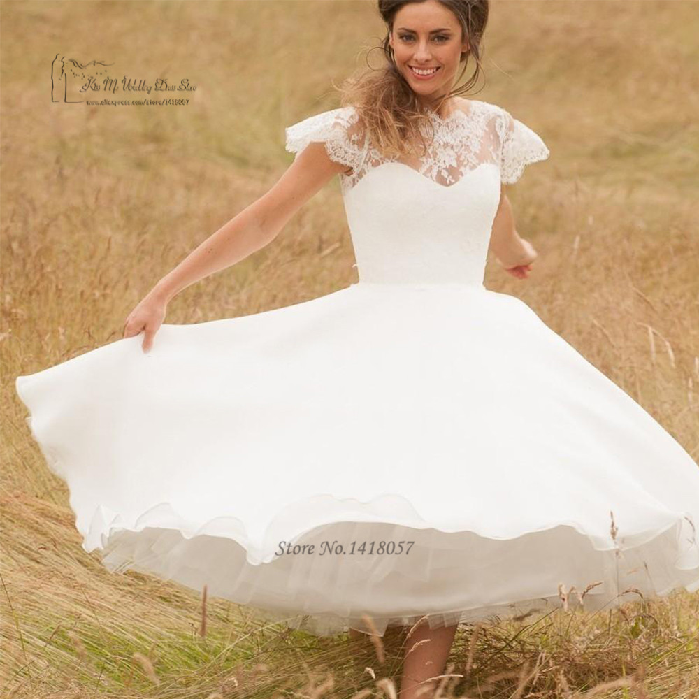 Country Western Lace Tea Length Wedding Dress 2016 Cap