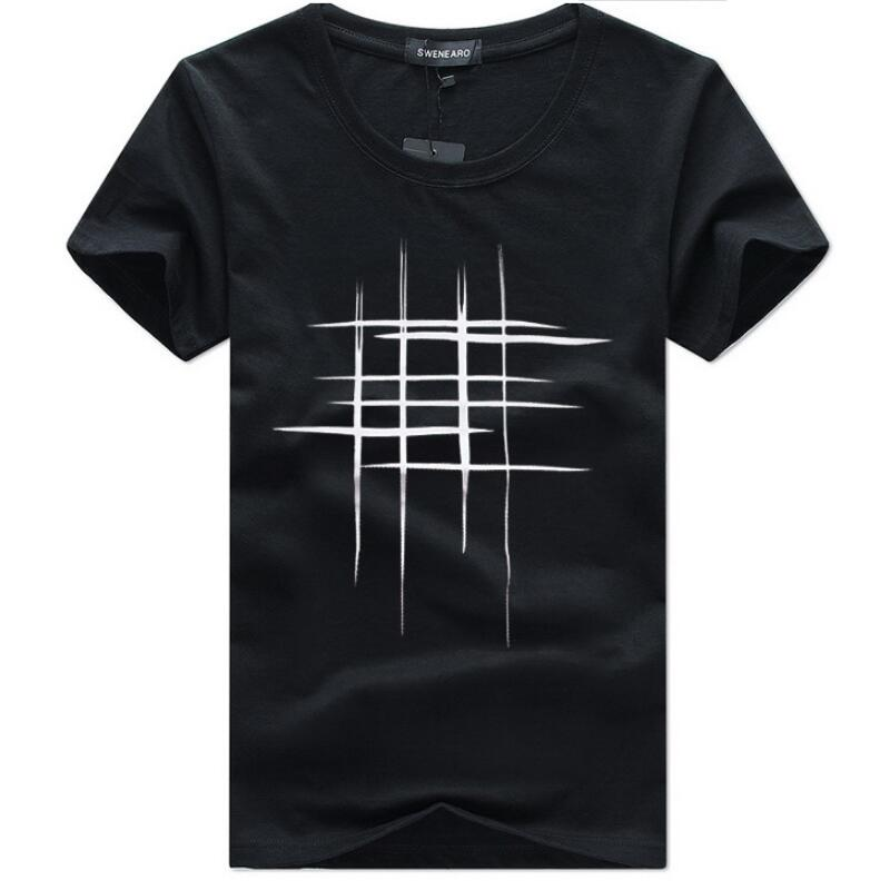 bc597c631 SWENEARO Men's T-Shirts Summer Short Sleeve t-shirt men Simple creative  design line cross Print cotton Men Brand Tee shirts 5XL