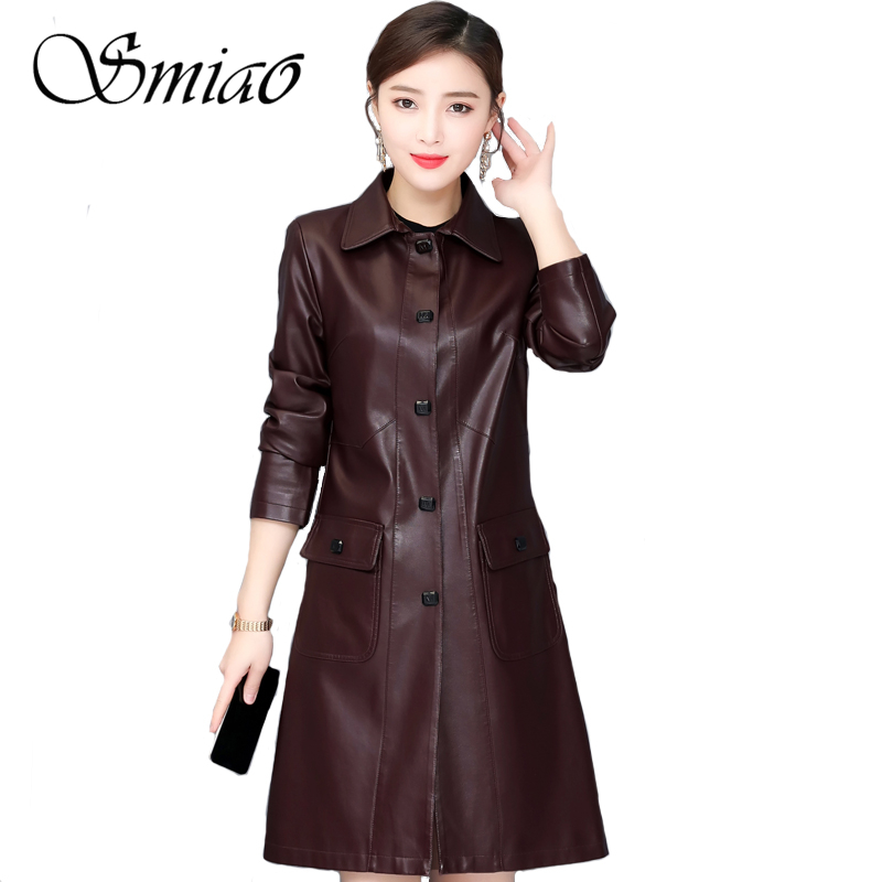 2019 Spring Autumn New Fashion Long   Leather   Jackets Women Plus Size 5XL Female Jacket Trench Coat Turn Collar Ladies Outerwear