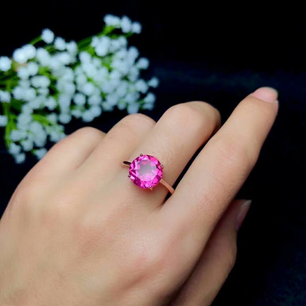 shilovem 925 silver sterling rings natural topaz pink woman open classic fine Jewelry gift round wedding 10*10mm bj101009agfbshilovem 925 silver sterling rings natural topaz pink woman open classic fine Jewelry gift round wedding 10*10mm bj101009agfb