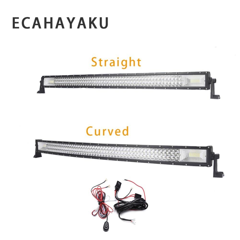 ecahayaku 3 row 22 inch 324w straight curved led light bar 2m wiring harness off road combo beam led work light bar 12v 24v dc [ 1000 x 1000 Pixel ]