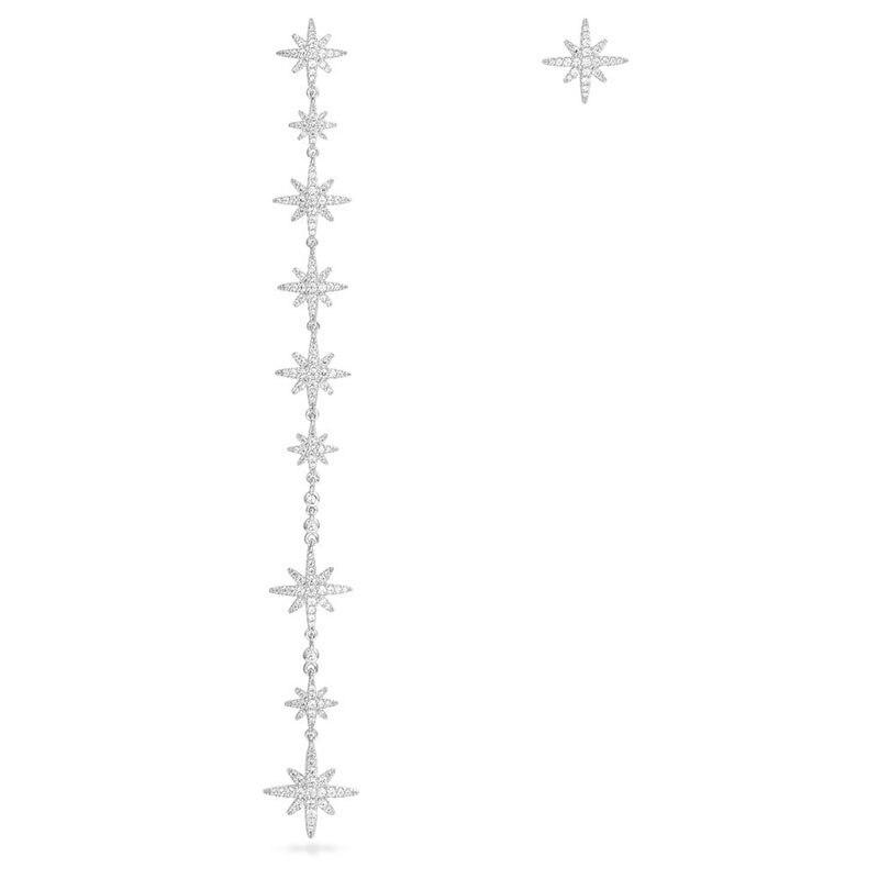 SLJELY Top Quality 925 Sterling Silver Cubic Zirconia Asymmetric Stars Meteorites Long Earrings Women Monaco May