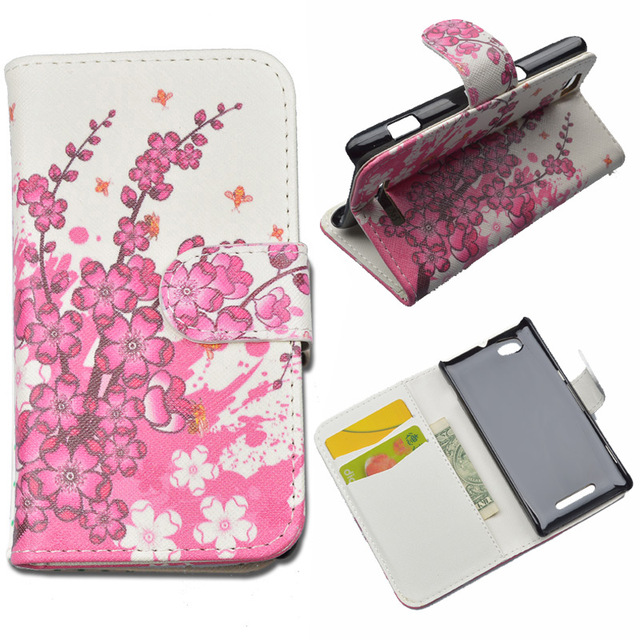 For Sony C1905 phone case Cute Printing Wallet for Sony Xperia M C1905  PU Leather Case with ID Card Holder 4 Colors