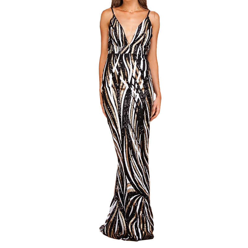 2018 Irregular Striped Sequined Party Dress Deep V Neck Full Lining Maxi  Dress Backless Padded Tight 2ff2d46ff05e