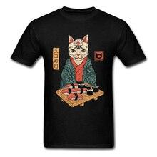 Neko Kimono Sakura Cat Sushi O Neck Top T-shirts Samurai Funny Love Day High Quality Cotton Design Tee Shirt Man Clothes