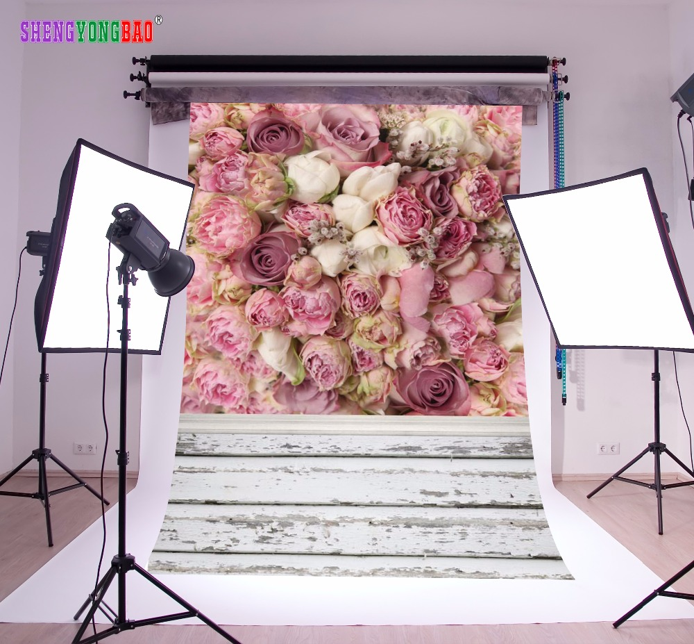 SHENGYONGBAO Art Cloth Custom Photography Backdrops Prop For Photo Studio Pink Rose Photography Backgrounds MG-03 easter day basket colorful egg photo prop washable fleece photography backdrops for studio photography backgrounds hg 386 a