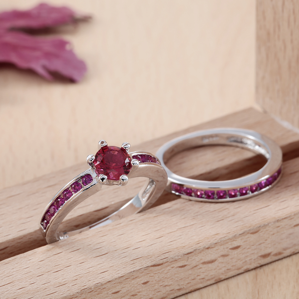 engagement silver natural item zircon princess in from shipping rings apollo women jewelry drop new stone cubic ring sets plated diamond corundum red