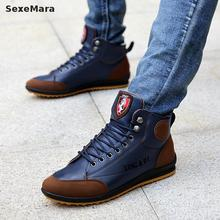 New 2017 men leather Boots Fashion winter Warm Cotton Brand ankle boots lace up men Shoes