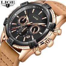 LIGE – montre-bracelet en cuir pour hommes, marque de luxe, Quartz or, étanche, style militaire, 2019