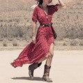 Más el tamaño de vestidos de fiesta largo rojo zanzea 2017 mujeres de la manera dividir maxi dress casual sexy cuello en v con cinturón vestidos boho estilo