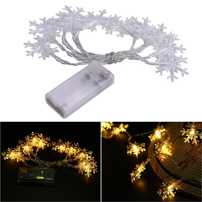 1.5m 10 LED Snowflake String Lights Battery Operated Fairy Light String for Christmas Home Wedding Decoration (Warm White Light)