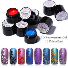 Lemooc 5 Ml Embossment Gel 3D Emboss Tekening Schilderij Gel Zilver Goud Diy Soak Off Nail Art Gel Polish Vernis(China)