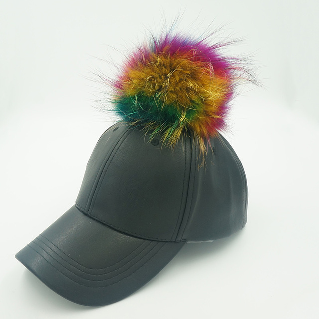 Cuero de imitación hueso gorras de béisbol con gran pompón de piel de mapache Color sólido ajustable Snapback sombreros de béisbol exterior casquillo de los deportes