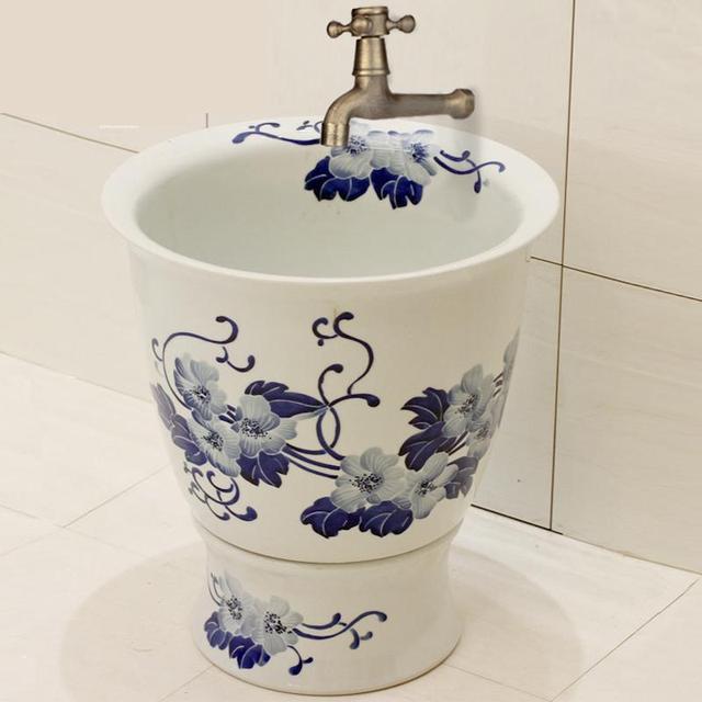 Jingdezhen Ceramic Mop Pool Art Mop Basin Cloth Art Mop Bucket Sinks  Bathroom Blue And White