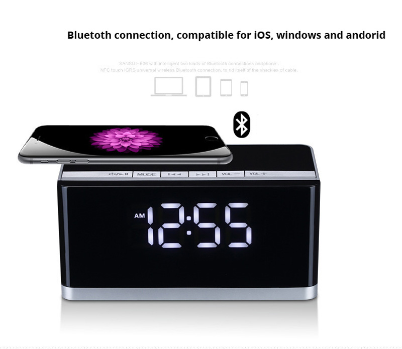 10W Bluetooth Speaker Wireless Portable Clock Subwoofer MP3 Music Led Display Fm Radio Sound Box Alarm Loudspeaker Tv Pc Boombox