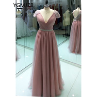 Blush Women Formal Long Evening Dresses 2018 A line V Neck Crystal Beaded Cap Sleeves Backless Prom Party Dresses Robe De Soiree