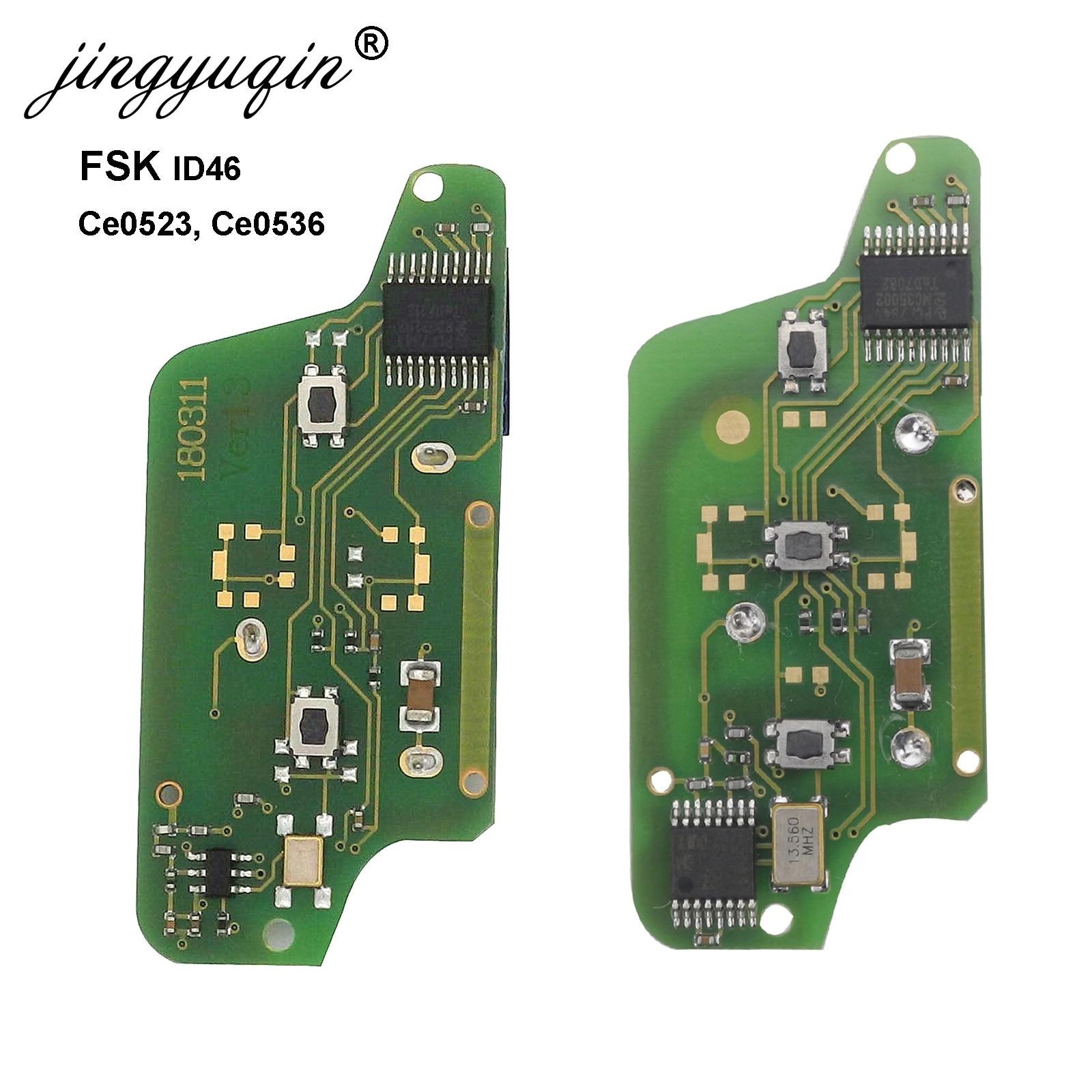 jingyuqin Car Remote FSK Key Board for Peugeot 207 208 307 308 408 Partner CITROEN C2 C3 C4 C5 Berlingo Picasso CE0523 536 2/3B