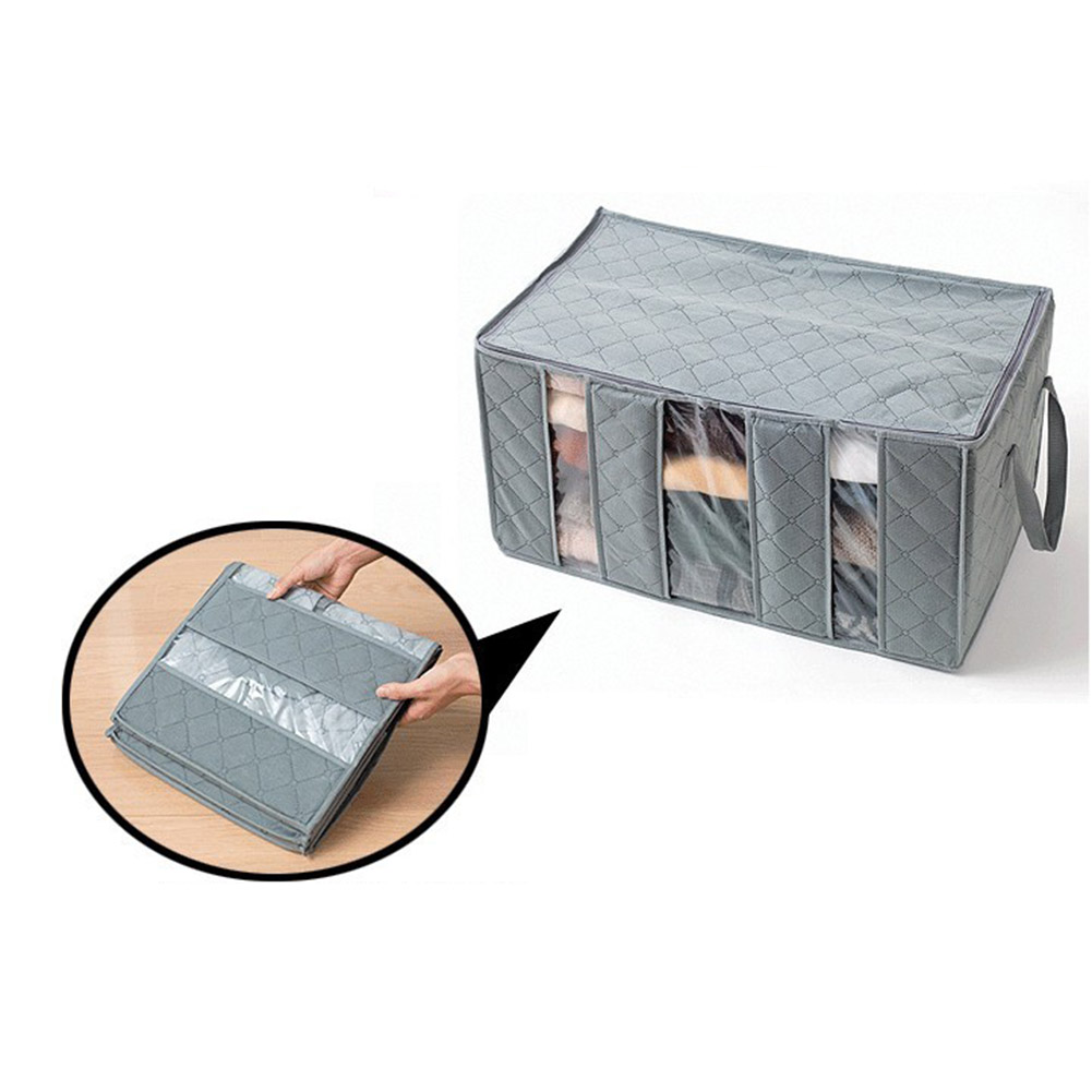 65L Foldable Storage Bag Bamboo Charcoal Organizers Great for Clothes Blankets Closets Bedrooms E2S