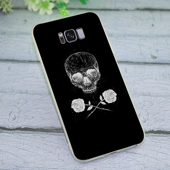 Black Skull White flower Cover for Galaxy S10e Case for Samsung S8 S9 S10 Plus Cases Note 8 9 M10 M20 M30 S7 Edge Silicone image