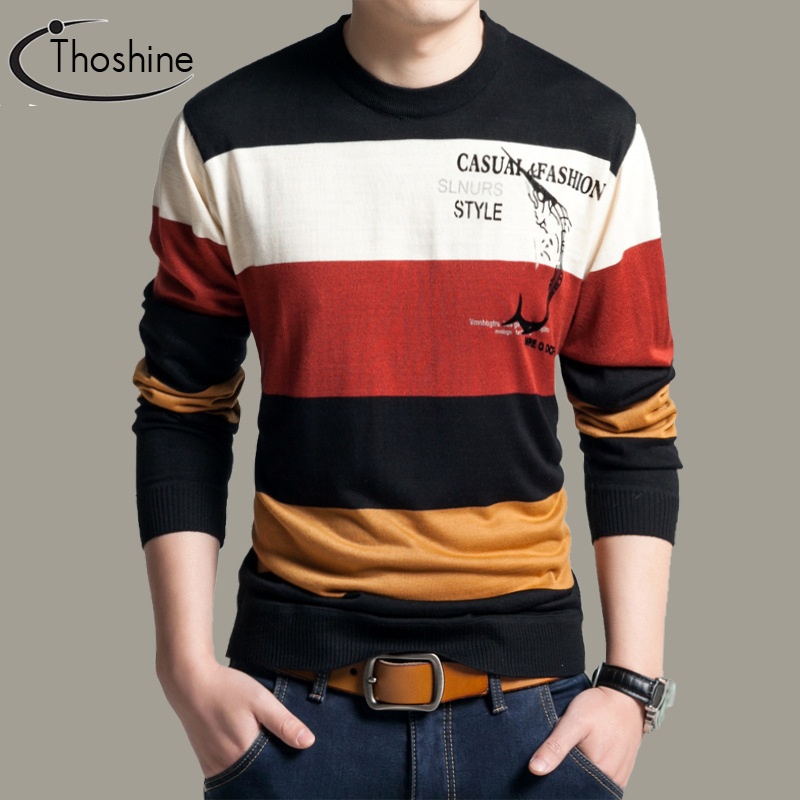 Thoshine Brand Spring Autumn Style Men Knitted Thin Sweaters Striped O-Neck Pattern Pullovers Male Casual Outwear Patchwork Tops 2