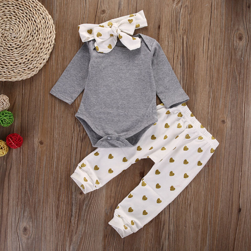 3Pcs Suits Newborn girls clothes set Long sleeve Toddle Tops bodysuit+Love pattern Pants +Headband Baby girl outfits