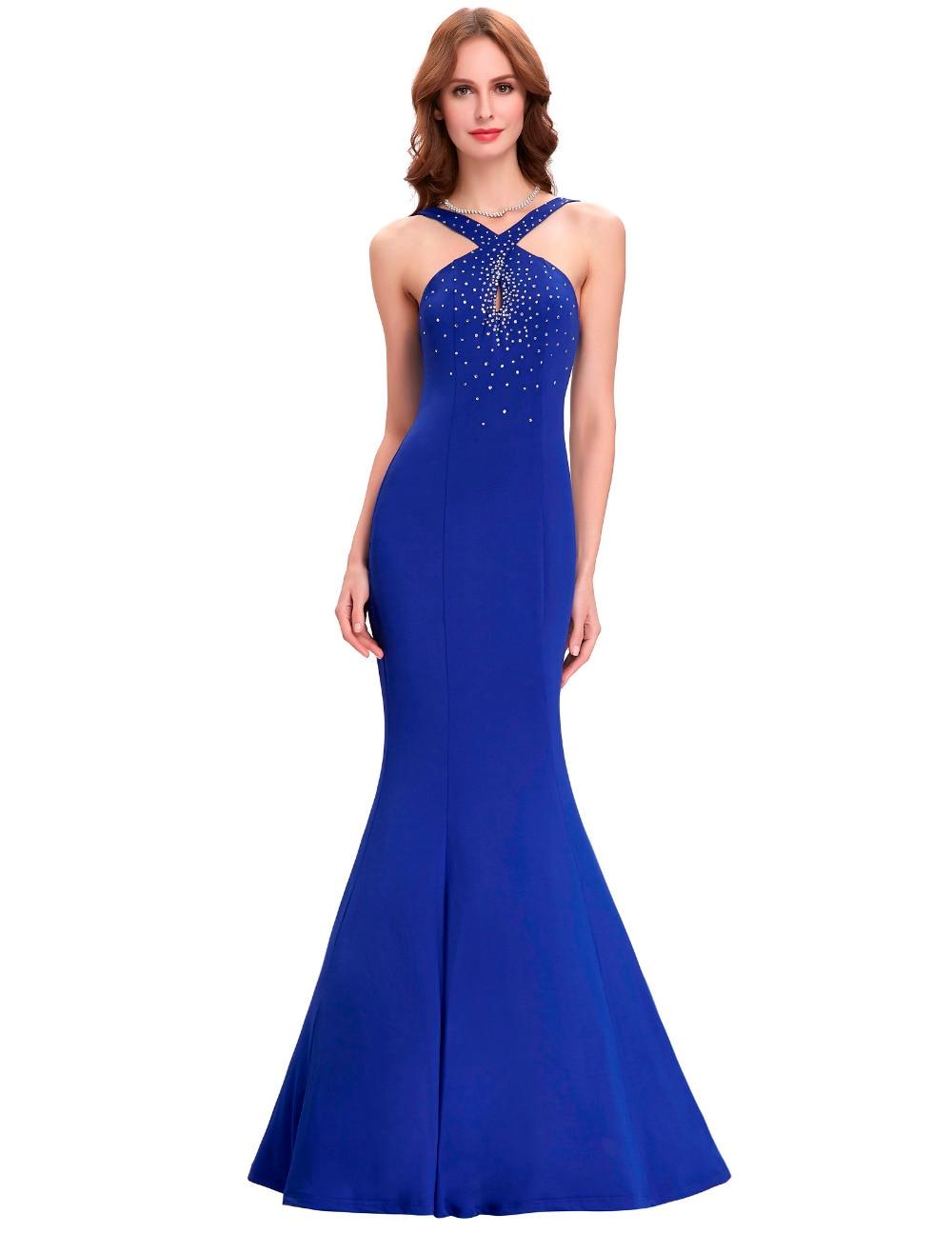 Online Cheap Blue Mermaid Prom Dress