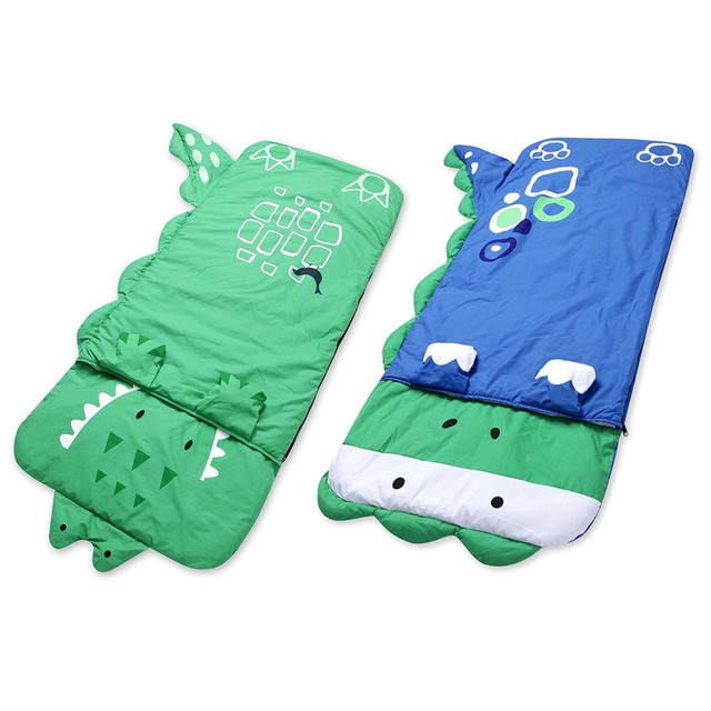 140*60cm Cartoon Child Sleep Flat Sheet Slumber Pillow Bedding Bag Blue Dinosaur/Gren Crocodile