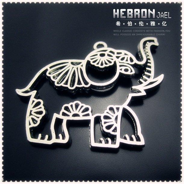 48*42 mm  Free ship Tibetan Silver (10pcs) Zinc Alloy Jewelry Accessories Classic Hollow Elephant Charms(3774#)