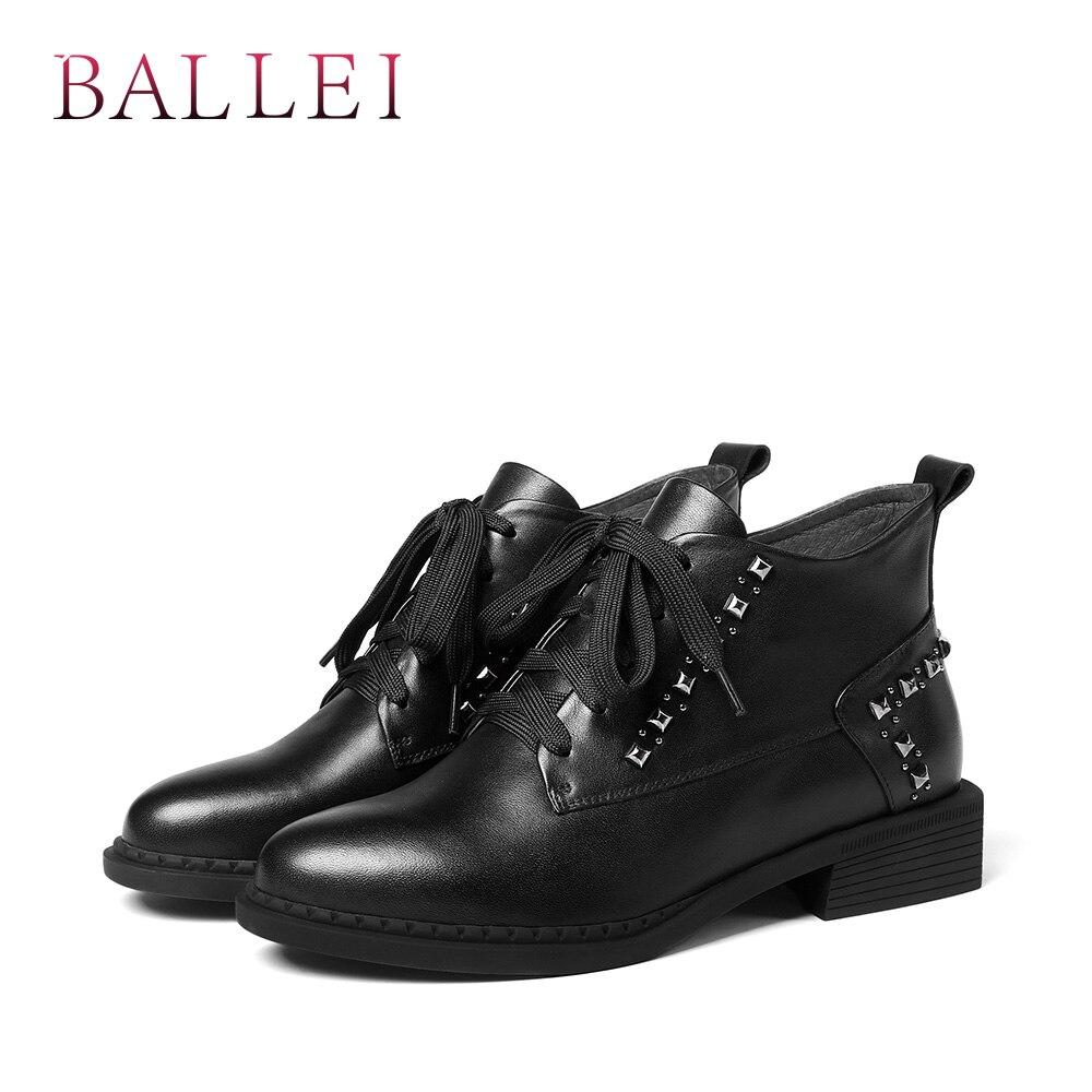 Remache Bajo De Tacón Ballei Invierno Mujer Encaje Cuero Black Redonda Alta Calidad Genuino Zapatos B108 Lujo Punta Caliente Botas Tobillo TwSqwnd6