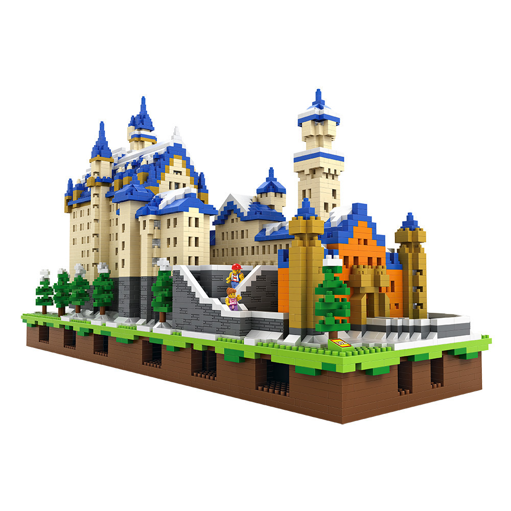 loz blocks New Swan Stone Castle architecture mega building bricks gifts for children enlighten jenga toys diy games for kids mr froger loz diamond block easter island world famous architecture diy plastic building bricks educational toys for children