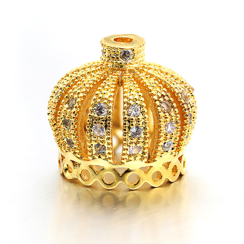 14*13mm Best Quality Brass Cubic Zirconia Tassel Cap Pendant Connector Charms, Mixed Color,  Hole: 1.3mm, Model:VM9
