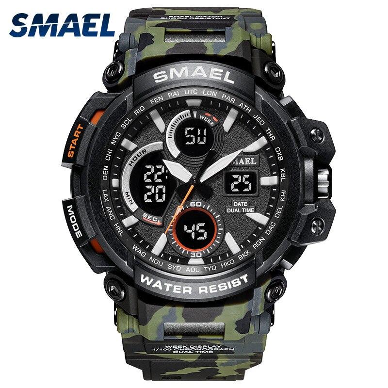 SMAEL 2018 LED Numérique-montre Hommes G Style Grand Cadran Montre Militaire Camo Bracelet Étanche Sport Montres Funcional Hommes horloge saat