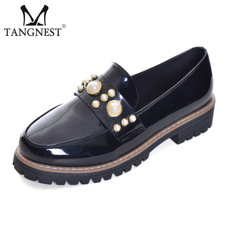 Tangnest NEW Patent Leather Platform Shoes Women British Pearls Autumn Oxfords Women Casual Creepers Fashion Wedge Shoe XWD6059 bling patent leather oxfords 2017 wedges gold silver platform shoes woman casual creepers pink high heels high quality hds59