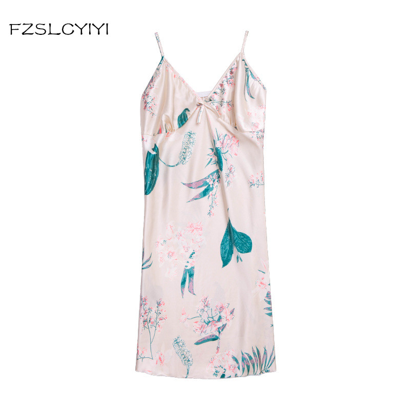FZSLCYIYI Ladies Sexy Nightdress Silk V-neck Floral Sleepwear Lingerie   Nightgown   Mini Sleeveless Women   Sleepshirt   New Arrival