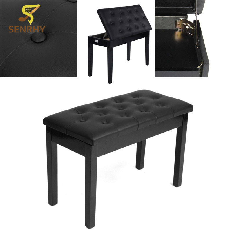 SENRHY New Double Seat Long Piano Keyboard Bench Stool PU Leather Seat Chair Solid Wood Frame Comfortable Multi-Functional 17 styles shoe stool solid wood fabric creative children small chair sofa round stool small wooden bench 30 30 27cm 32 32 27cm