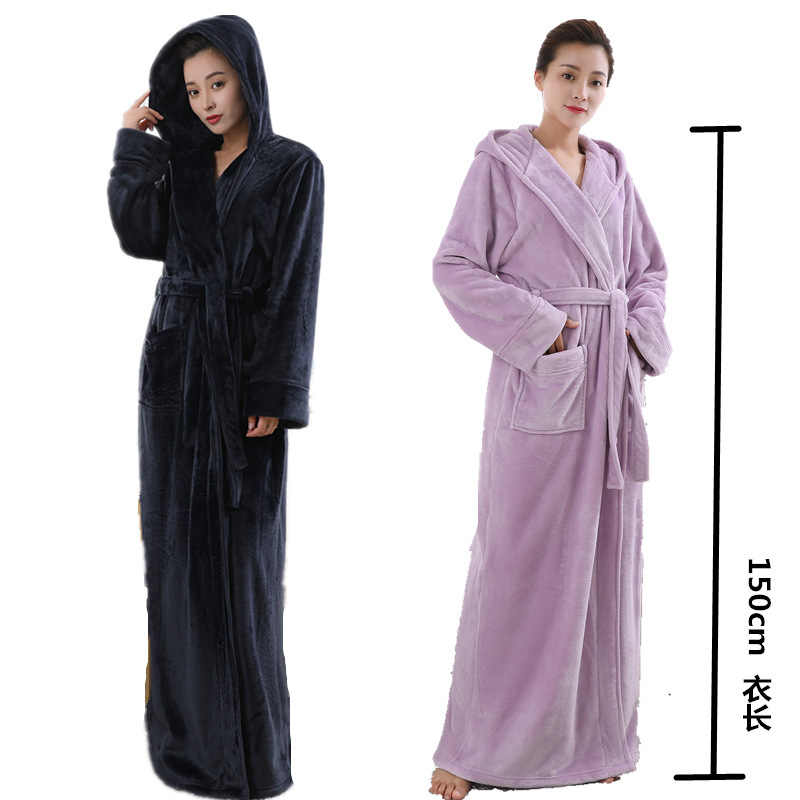 6da399575f Lovers Thermal Hooded extra Long Flannel Bathrobe Women Men Thick Warm  Winter Kimono Bath Robe Bridesmaid