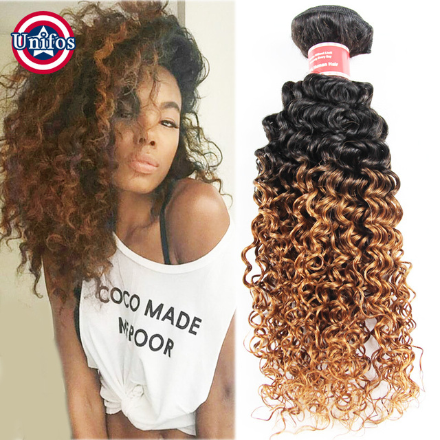 Peruvian Ombre Virgin Hair Kinky Curly Extensions One Piece Two Tone