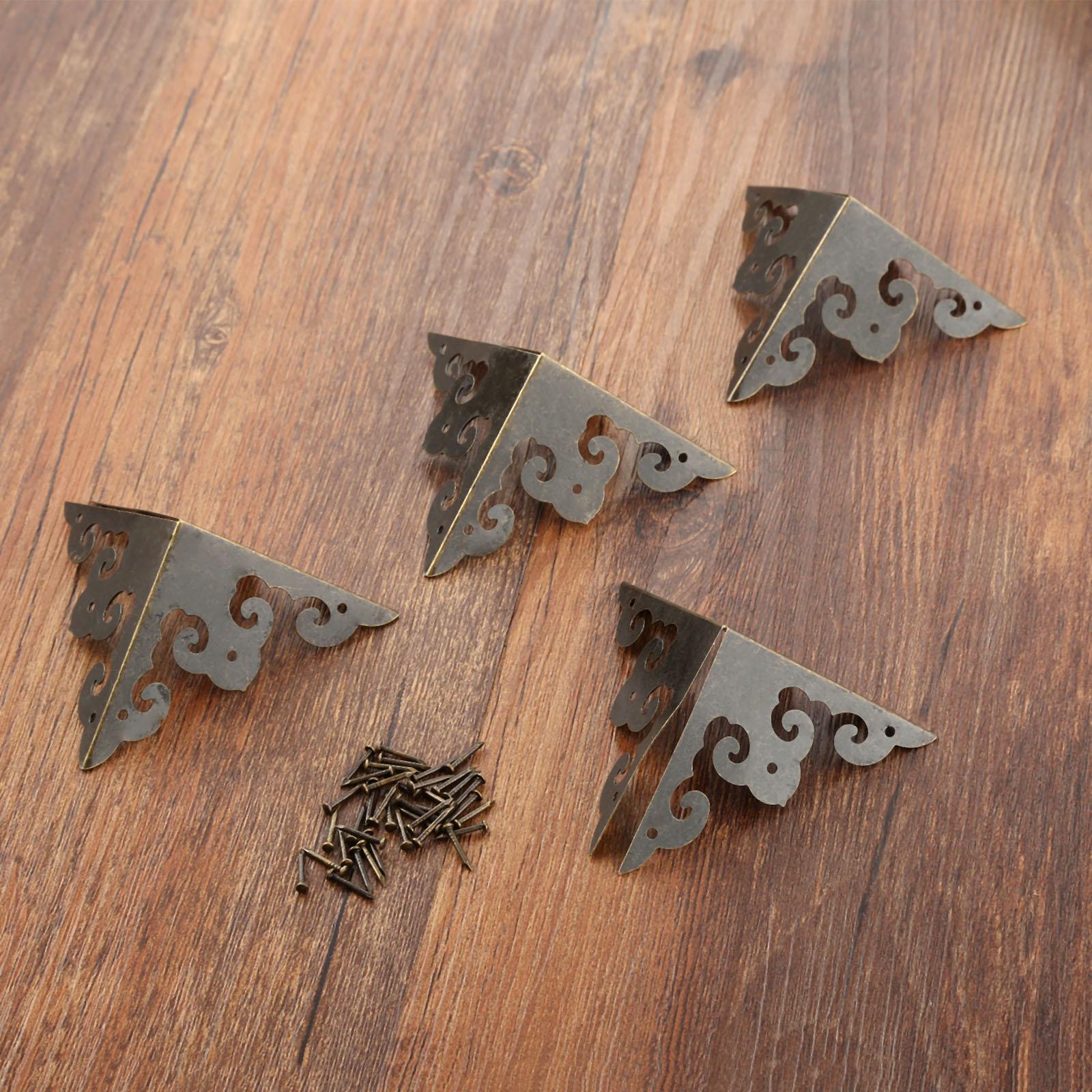 4pcs 50mm Jewelry Chest Box Wood Case Edge Corner Protector Guards Decorative