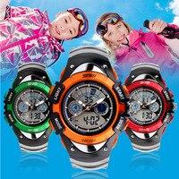 2015 New Fashion Children Watch Sports Watches 2 Time Digital Quartz Chronograph Jelly Silicone Student Swim